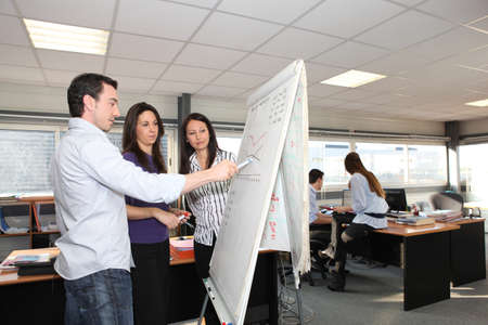 Office team looking a growth chart on a whiteboard photo