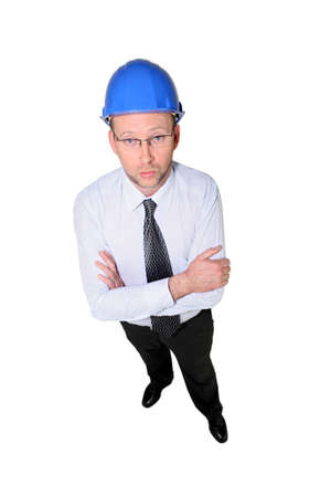 Studio shot of a man in a hardhat Stock Photo - 11455736