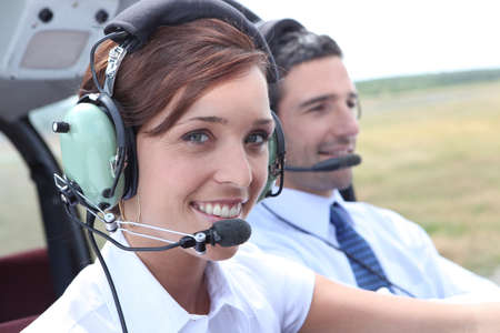Female pilot of a light aircraft photo