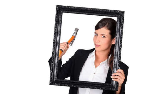 Woman with a picture frame photo