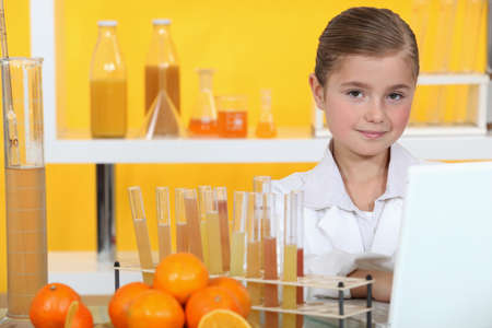 analysing: Girl analysing juice Stock Photo