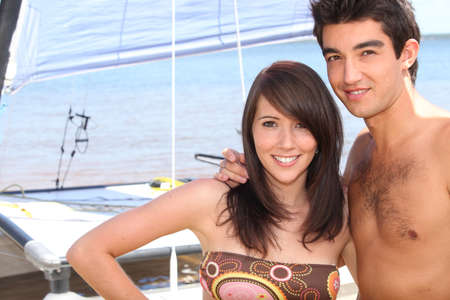 Teenage couple on holiday photo