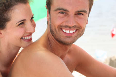 a couple on the beach photo
