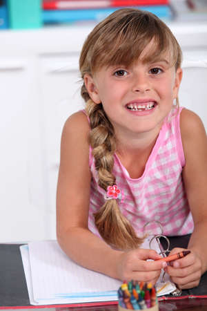 tied girl: Young schoolgirl Stock Photo