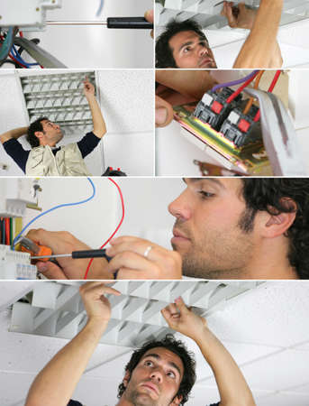 Electrician working, photo-montage photo
