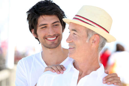 jointly: Father and son on holiday Stock Photo