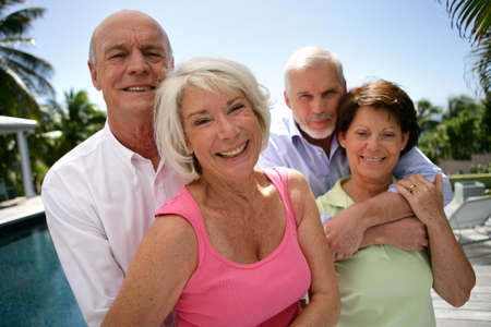 retired: two senior couples on vacation