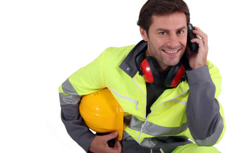 high visibility: Workman in protective gear