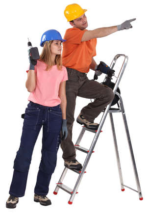 sexy construction worker: A couple of handyman. Stock Photo