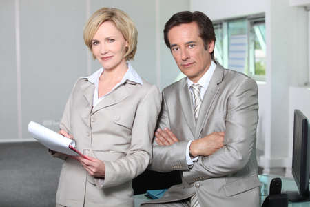 45 55 years: Businessman and woman Stock Photo