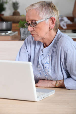 senior lady having on-line assistance photo