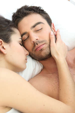 Couple asleep in bed Stock Photo - 11455941