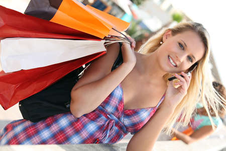 Youg busy woman shopping Stock Photo - 11455779