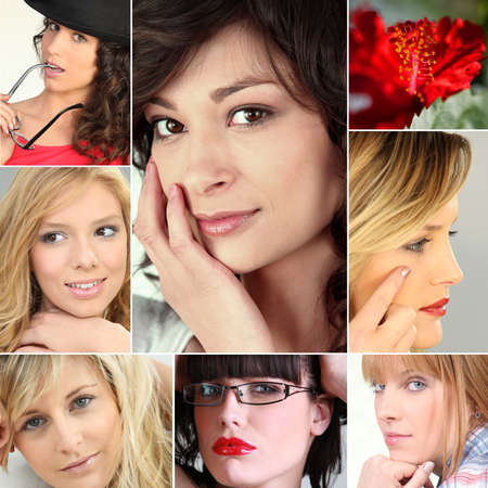 A collage of young and attractive women photo