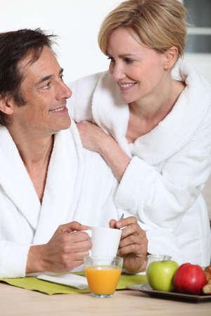 Husband having breakfast Stock Photo - 11455951