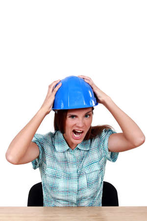 A scowling female construction worker. Stock Photo - 11456334