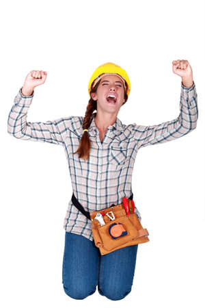 25 29 years: Cheering construction worker Stock Photo