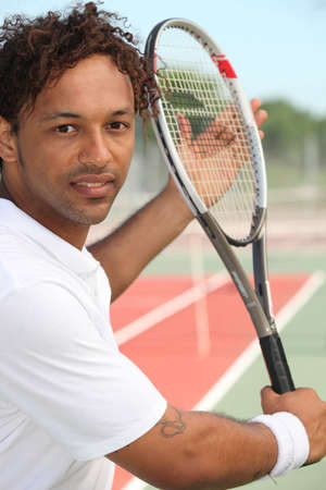 municipal court: Tennis player on hard court