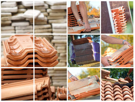Mosaic of terracotta roof tiles photo