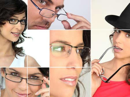 authoritative woman: men and women wearing glasses
