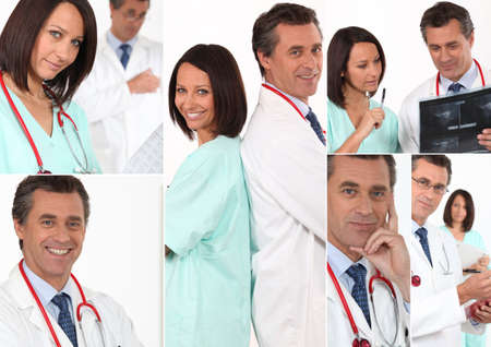 electromagnetic radiation: Collage of a team of doctors