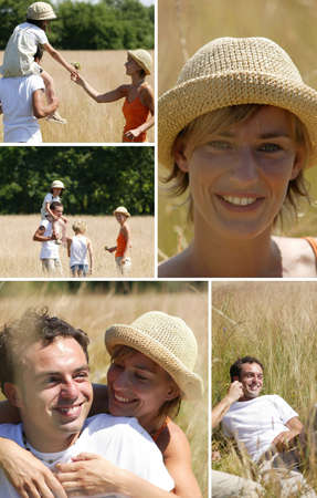 Collage of a family walking in a field Stock Photo - 11603931