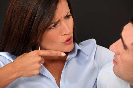 complaining: Woman blaming her husband