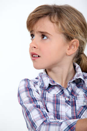 disquieted: little girl worried Stock Photo