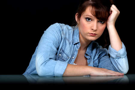 Sad looking woman photo
