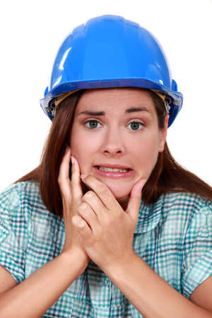 indecisive: Indecisive woman in a hardhat