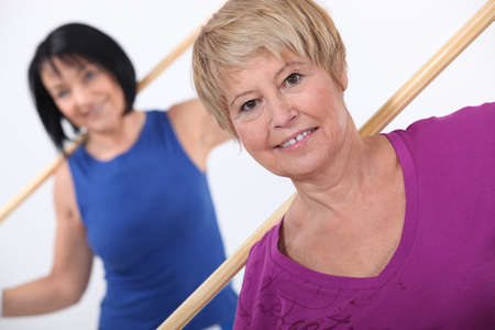 healthy women: Mature women working out Stock Photo