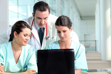 residents: Resident doctor talking with interns