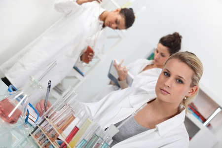 deduce: Women working in the lab Stock Photo