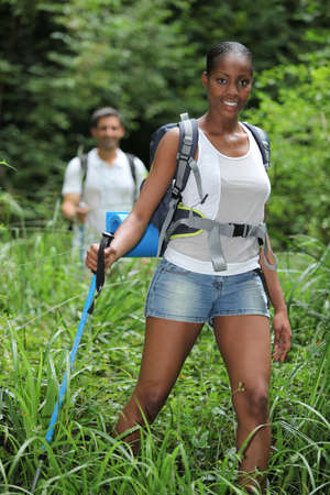 well equipped: Couple hiking Stock Photo