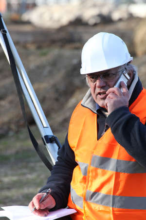 onsite: An unhappy foreman onsite. Stock Photo