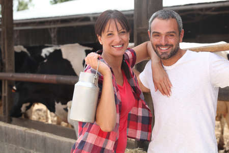 laborers: Farmers smiling Stock Photo