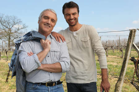 terroir: Winegrowers sharing a moment Stock Photo
