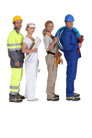 tradespeople: different building trades