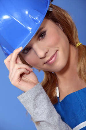 labourer: Attractive female labourer Stock Photo