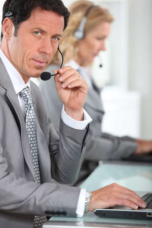 portrait of a man with headset Stock Photo - 11610913