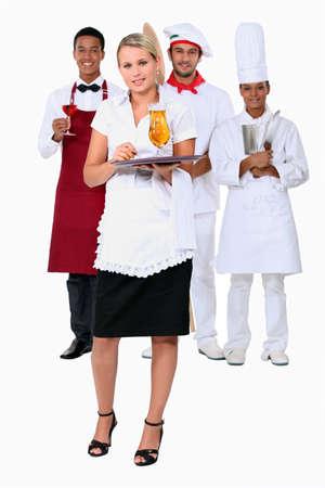 employ: Working in a restaurant