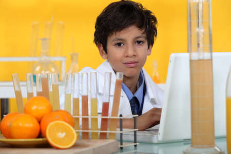 Young boy in laboratory photo