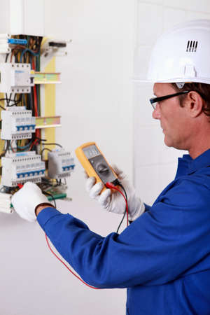 electrician: portrait of an electrician Stock Photo