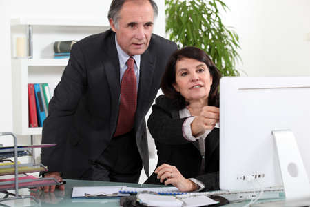 Mature business couple at a computer photo