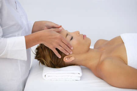 Woman being given head-massage Stock Photo - 11606017