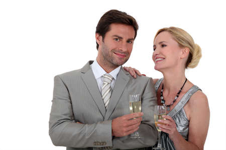 Couple with champagne photo