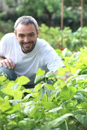 45: Man in his garden Stock Photo