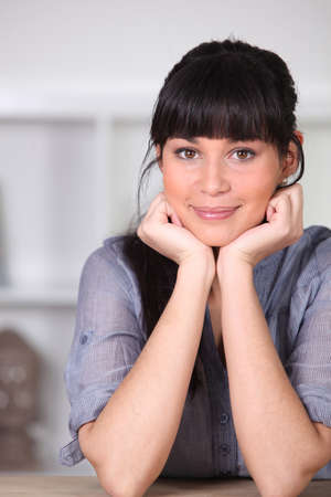 Pretty young woman with a blunt fringe Stock Photo - 11610967