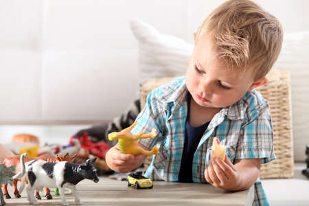 Little boy playing with toys photo