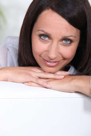 45 50 years: Portrait of a woman relaxing at home Stock Photo